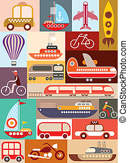 transporte, vector, ilustración