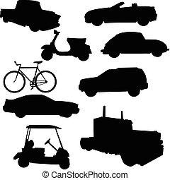 transporte, vector, siluetas