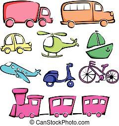transporte, vehículos, iconos