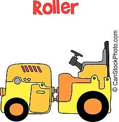 transporte, vetorial, arte, caricatura, rolo