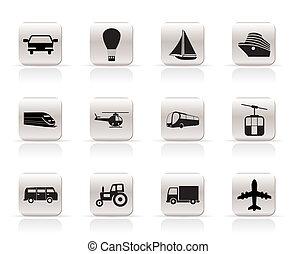 transporte, y, iconos de viajar, -