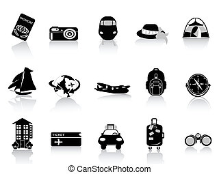 transporte, y, iconos de viajar, blanco, plano de fondo