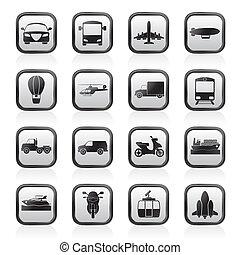 transporte, y, iconos de viajar
