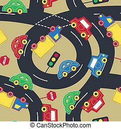 transporte y tráfico, seamless, patrón