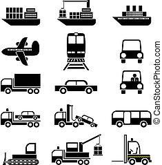 transporte, y, vehículos