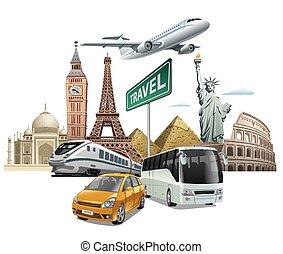 transporte, y, viaje