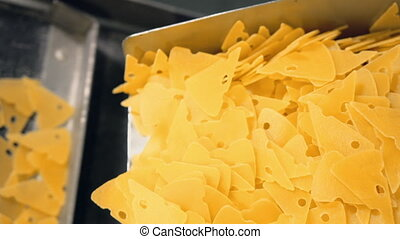 transporter with chips HD video prores - conveyor in the...