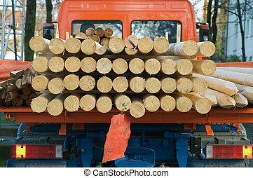 transportere, lastbil, træ, lille