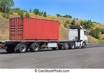 transportes, contenedor, remolque, carretera