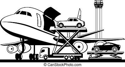 transportflugzeug, laden, autos