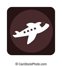 transportflugzeug, quadrat, emblem