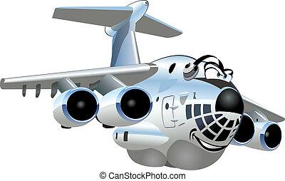 transportflugzeug, vektor, karikatur