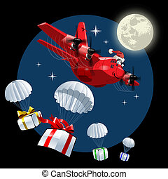 transportflugzeug, vektor, karikatur, weihnachten