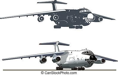 transportflugzeug, vektor, kunst, düse