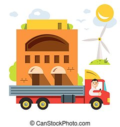 Transporting portable homes. Vector Flat style colorful Cartoon illustration.