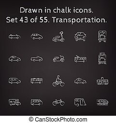 Transpotration icon set drawn in chalk. - Transpotration ...