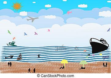 transprotation, alatt, óceán, és, emberek, képben látható, thae, tengerpart