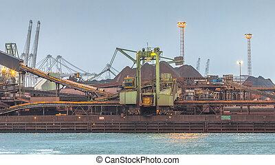 transshipment, ファシリティ, 収穫, buk, 鉄, 鉱石