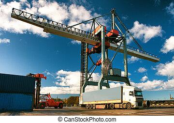 transshipment, port, récipients