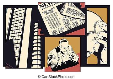 transtorne, businessman., estoque, illustration.