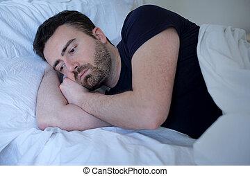 transtorne, cama, triste, sono, tentando, homem