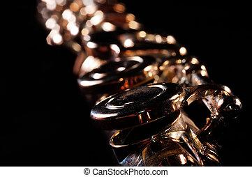 Transverse flute - Detail of a Western concert flute, black...