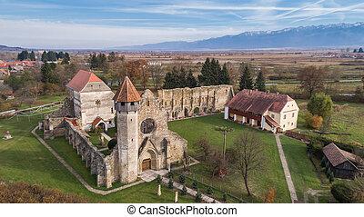transylvania, monastère, (benedictine), cistercian, architecture, carta, religieux, ancien