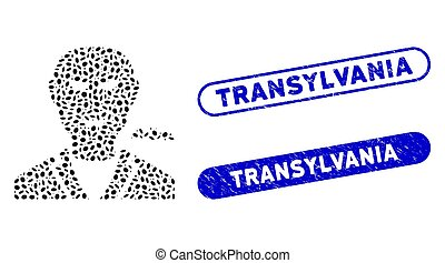 transylvania, mosaïque, ellipse, filigranes, vampire, grunge