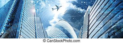 transzparens, ügy, futuristic, felhőkarcoló