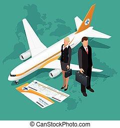 transzparens, ügy utazik, isometric, concept., idegenforgalom, repülő, composition., vektor, világ, háttér., lakás, illustration., 3, design.