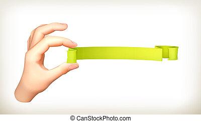 transzparens, alatt, kéz, vektor