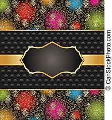 transzparens, arany-, vektor, fekete
