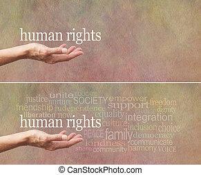 transzparens, emberi, kampány, helyrehoz