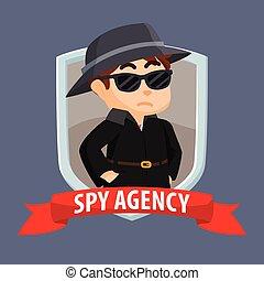 transzparens, kémkedik, ügynökség, embléma