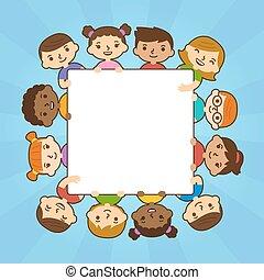 transzparens, karikatúra, birtok, gyerekek