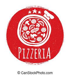 transzparens, tervezés, pizzéria, grunge, címke