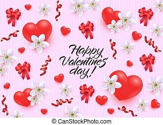 transzparens, valentines, köszönés, vagy, gyakorlatias, flowers., piros, gyeplő, nap, kártya, boldog