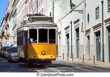 tranvía, amarillo, lisboa