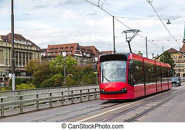 tranvía, berna, moderno