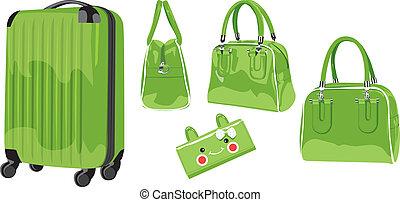 tranvía, caso, illustration-, material, billetera, maleta, ...