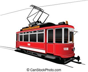 tranvía, ciudad, estilo, transport., vendimia