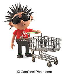 tranvía, compras, vacío, punk, aire, mecedora, spikey, empujar, aburrido, ilustración, 3d