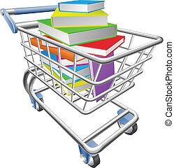 tranvía, concepto, carro de compras, lleno, libros