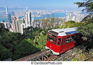 tranvía, hong, turista, pico, kong