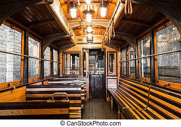 tranvía, interior, viejo