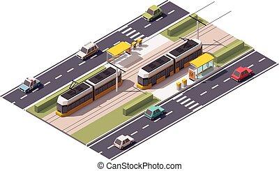 tranvía, isométrico, estación, vector