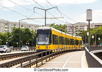 tranvía, moderno, dresden