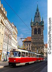 tranvía, praga, checo, jindrisska, retro, torre, rojo