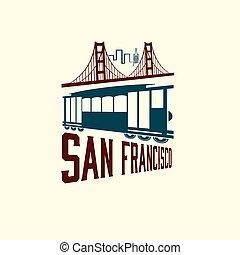tranvía, san, puerta, dorado, puente, francisco