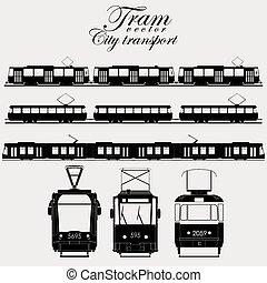 tranvía, vector, ciudad, transporte